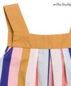 """Blusa Bonpoint modello """"Soleil"""" in morbido popeline, strisce multicolore, taglio leggermente svasato, spalline all'americana"""