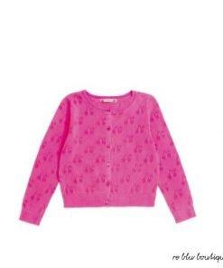 Cardigan dal taglio tradizionale color rosa fluo Bonpoint, scollo rotondo e chiusura con bottoni, motivo di ciliegie traforate.