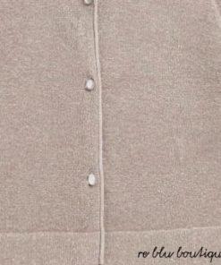 Cardigan Bonpoint color bronzo a maniche lunghe e abbottonatura sul davanti, questo modello corto è realizzato in cotone lurex che brilla sotto le luci