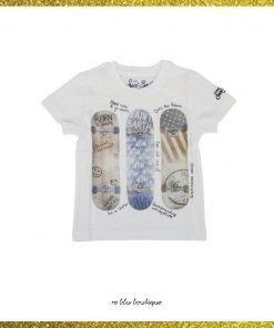 T-shirt in cotone bianco con stampa skateboard di Mc2 Saint Barth Kids con girocollo, maniche corte, stampa skateboard e fondo dritto