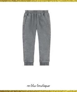 Pantalone jogginf StellaMcCartney in cotone biologico, taglio dritto sui fianchi, gambe leggermente aderenti, pinces sulle gambe, quattro tasche, smock vita con punto cravatta effetto decolorazione
