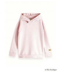 stagione primavera-estate 2019Felpa con cappuccio rosa pallido Scotch R'Belle, modello lungo, tessuto felpato, scritta decorativa sulla schiena. Applicazione con logo, polsini e orlo in maglia a costine