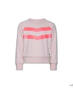 Felpa girocollo rosa pallido con due bande di paiettes sulla parte della felpa salmone, etichetta del logo laterale, vestibilità regolare