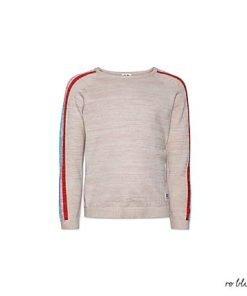 Cardigan AO76 girocollo beige con delicato effetto glitter, sulla manica bande tricolor dai colori accesi, vestibilità morbida