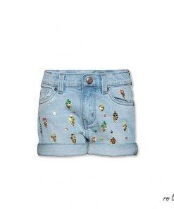 Bermuda corto in jeans AO76 con applicati su tutta la superficie frontale dei piccoli coni gelati multicolor di paiettes, modello 5 tasche