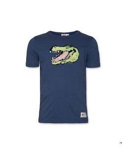 T-shirt a maniche corte A076 blu scuro con stampa frontale a contrasto della testa di un coccodrillo, logo del brand sul lato sinistro