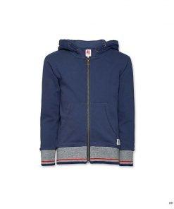 Felpa full zip con cappuccio A076 color blu vintage, fondo e costine con fascia grigia e stampa di righe orrizontali multicolori, due tasch