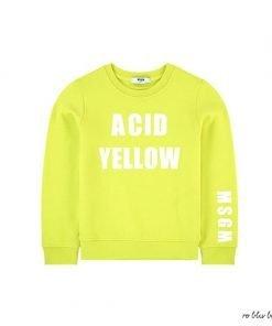 Felpa girocollo giallo acido in cotone di MSM, maniche lunghe, logo stampato e orlo dritto, scritta frontale a lettere maiuscole bianche