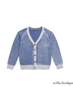 Cardigan Bonpoint azzurro delavè, ralizzata in cotone 100%, ampio scollo a V, bottoni in tono, polsini, profilo e fondo a contrasto bianco