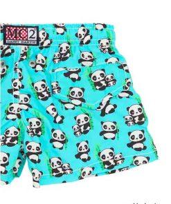 Costume boxer sul fondo azzurro con stampa all over di piccoli panda, vita elasticizzata con coulisse, stampa su tutta la superficie che può variare, slip interno in rete