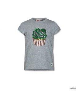 T-shirt grigia AO76 a manica corta con stampa glitter frontale di un simpatico cupcake stampa su tutta la superficie di pois di varie misure. Vestibilità regolare, modello morbido