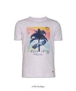 T-shirt a maniche corte girocollo color ecru AO76 con stampa frontale di uno skateboard multicolor, toppa con il nome del brand