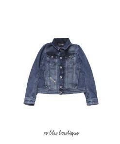 Giacca jeans DIesel in JoggJeans con bottoni, caratterizzata dall'iconico taschino e da tasche sul petto, bottoni serigrafati argento vintage