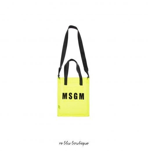Borsa tote giallo fluo con logo di MSGM. Modello con design trasparente, forma rettangolare, apertura superiore, stampa con logo, manici e tracolla regolabile e rimovibile