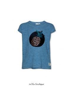 T-shirt color blu jeans a maniche corte AO76 stampa frontale di paiettes double-face che si trasforma in disegni diversi, patch con logo del brand