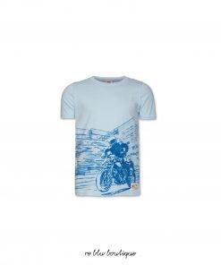 T-shirt girocollo AO76 a maniche corte in jersey di cotone color azzurro cielo con stampa moto tono su tono, toppa con il nome del brand