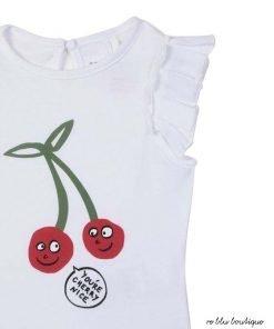 T-shirt bianca girocollo StellaMcCartney a maniche corte in cotone organico con stampa frontale di ciliegie in contrasto colore