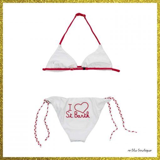 """Bikini bianco con laccetto rosso regolabile al collo e scritta in corsivo sempre sui toni del rosso """"I love Saint Barth"""""""