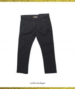 """Pantalone blu scuro in cotone modello """"Essaouira"""" di DouDou, gamba dritta, tasche laterali, toppa sulla parte posteriore con nome del brand"""