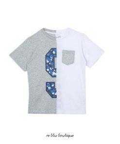"""T-shirt girocollo in cotone StellaMcCartney modello """"sport"""" bicolor bianca e grigio chiaro con maxi stampa dai colori a contrasto"""