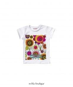 T-shirt in cotone da bambina anni '70 stampa digitale ad alta definizione sul davanti con dei fiori multicolor, vestibilità regolare