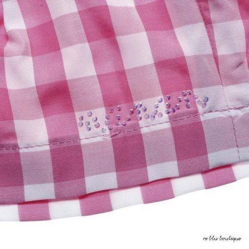 Bermuda corti Nanan fantasia vichy sui toni fucsia, fascia in vita con chiusura a fiocco e scritta in strass color argento