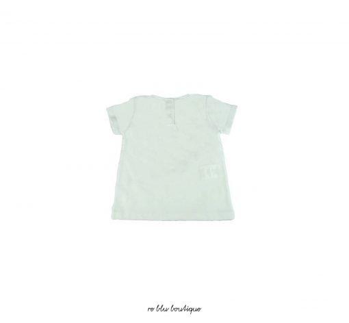 """Morbida t-shirt di Nanan in cotone color bianco ottico e simpatica stampa frontale """"Happy Princess"""" abbottonatura sul retro."""