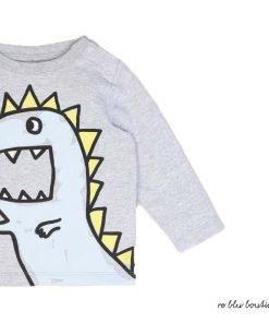 T-shirt a maniche lunghe in cotone StellaMcCarntny grigio chiaro con stampa frontale di un dragodi fanrasia dai colori a contrasto