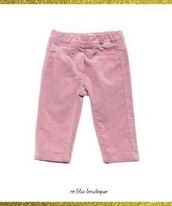 Pantaloni in velluto liscio Il Gufo color rosa pastello, vita elasticizzata, dettaglio logo frontale, tasche decorative frontali