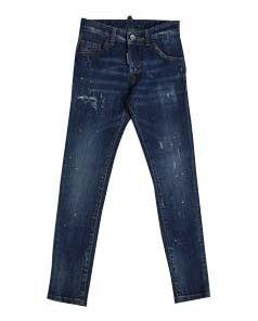 Pantalone jeans Dsquared2 con denim dall'effetto consumato delavé, logo stampato, lavaggio medio, bottoni vintage e stampe pittura