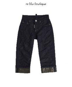 Pantalone Jeans Dsquared2 in lamè lavaggio molto scuro, logo, lavaggio scuro, bottoni vintage, fondo con risvolto