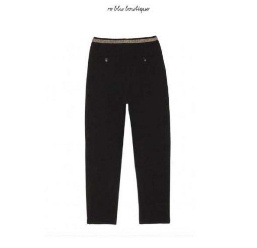 """Pantaloni Hartford modello """"Pirouette"""" in crepe di cotone nero con cintura elasticizzata. Due tasche laterali e due tasche a filetto sul retro."""
