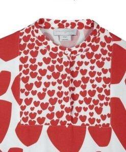 """Vestito """"Kimono"""" Stella McCarney in crèpe di Viscosa. Su fondo bianco con stampe rosse a forma di cuore."""