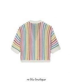Cardigan in cotone ecologico Stella McCartney. Righe di colori che creano un arcobaleno. Manica a tre quarti.