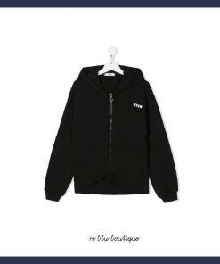 Felpa diMSGMKids con cappuccio in cotone nero, con logo e chiusura zip. Vestibilità comoda, maniche lunghe, polsini aderenti e fondo dritto.