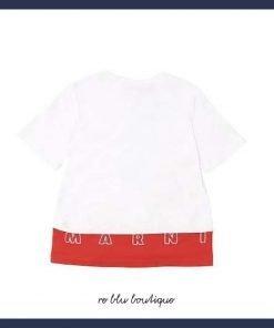 T-shirt bianca girocollo Marni, con dettagli a costine sul collo e polsi. Fascia con loro ricamato sul retro. Made in Italy.