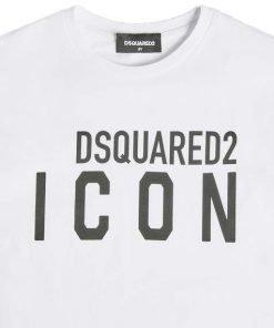 """T-shirt bianca in cotone di Dsquared2, manica corta e girocollo. Modello con stampa """"Dsquared2 ICON"""" in colore nero."""
