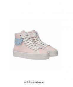 """Sneakers in glitter rosa con para bianca 35mm e dettaglio """"Eyelike"""" sul lato in contrasto. Stringhe bianche e lucchetto Chiara Ferragni sul lato. Made in Italy"""